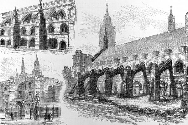 Engraving showing three views of the exterior of Westminster Hall, London, 1884. On the right is a view of the ancient buttressing of the building at that time. At top left, a view of the same buttress after a proposed restoration. At bottom right