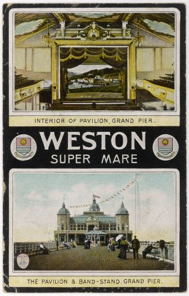 Weston-super-Mare, Avon: Grand Pier, pavilion interior (above) and pavilion and bandstand exterior (below)