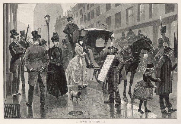 A wet day in Piccadilly, Central London, with pedestrians and a hansom cab