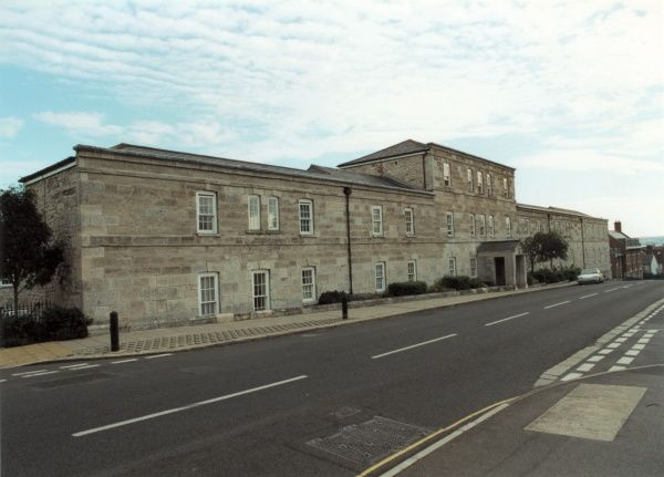 The long frontage of the former Weymouth Union Workhouse. The site later became Portway Hospital. Date: 2000