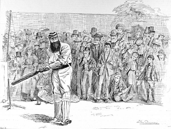 Engraving of Dr. William Gilbert Grace (1848-1915), practising his batting in the nets at Lord's Cricket Ground, 1895. As can be seen, a large crowd has gathered to watch 'the Doctor's' technique. Arguably the finest cricketer of his era