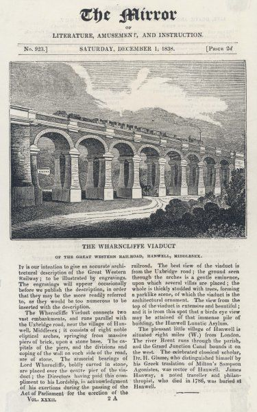 The Wharncliffe Viaduct of the Great Western Railroad, at Hanwell, Middlesex. Brunel (I.K) was responsible for the construction and design of much of the early GWR