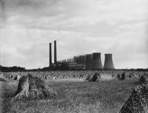 'Food and Power.' A delightful glimpse of a wheat-field and in the background is Ham's Hall Power Station, Warwickshire
