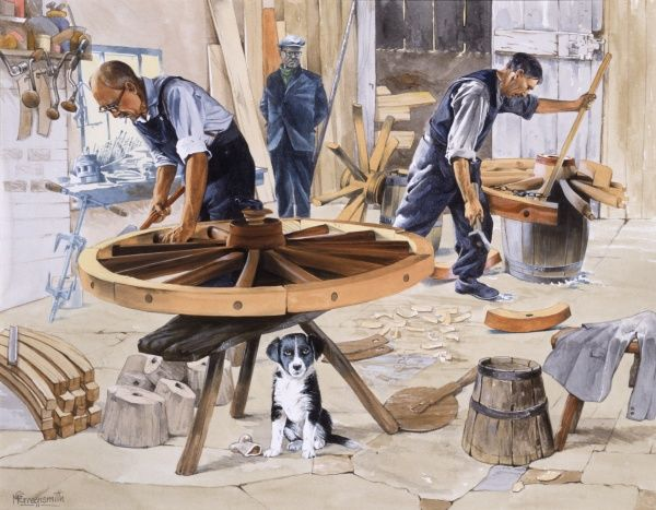 Wheelwrights or wainwrights making large wooden wheels in a traditional rural workshop. Painting by Malcolm Greensmith