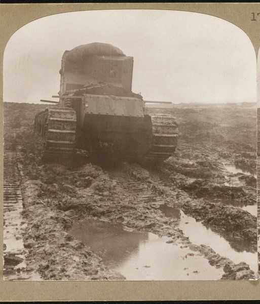 British Whippet tanks ploughing through the mud- caked battlefields to penetrate the German lines at Morcourt, France