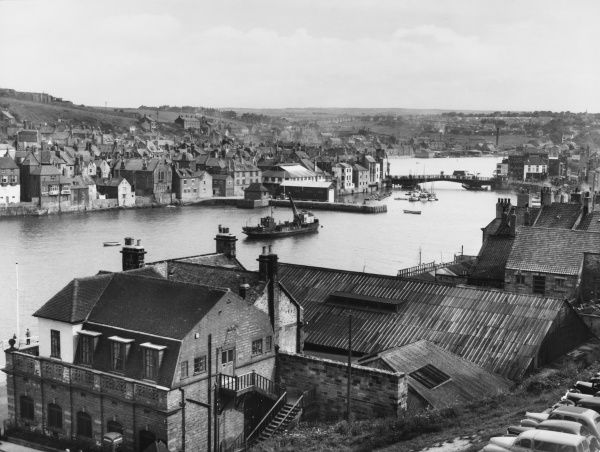 A fine overview of the lovely harbour at Whitby, Yorkshire, England