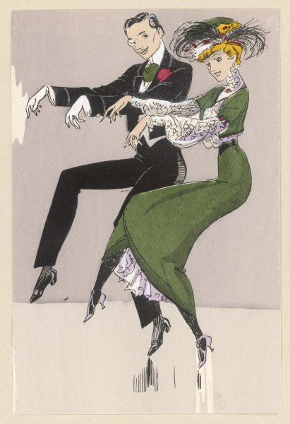 Two white dancers - he wearing a monocle, she a smart hat - perform the cake-walk in fine Parisian fashion : it may not be New Orleans, but they've got style !