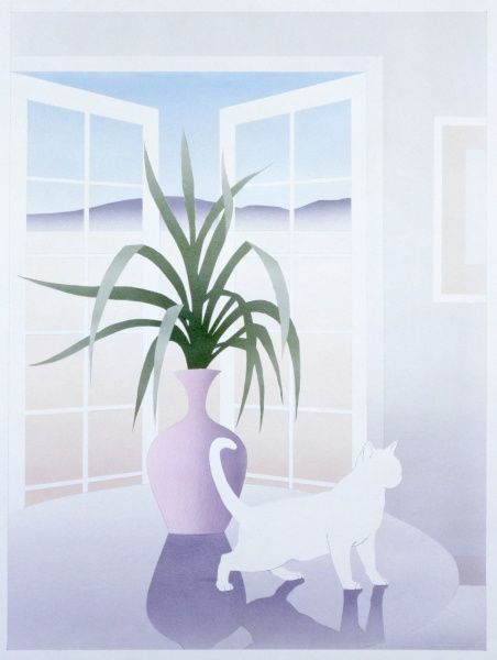 A stylised airbrush picture by Malcolm Greensmith, showing a white cat on a table by an open window