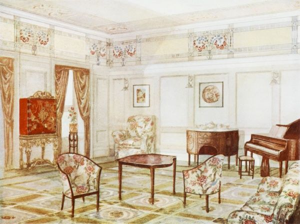 A white scheme drawing room furnished with floral covered chairs, a piano and chinese style cabinet