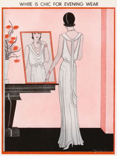 A fashion illustration by Gordon Conway showing a white crepe de Chine and velvet evening gown