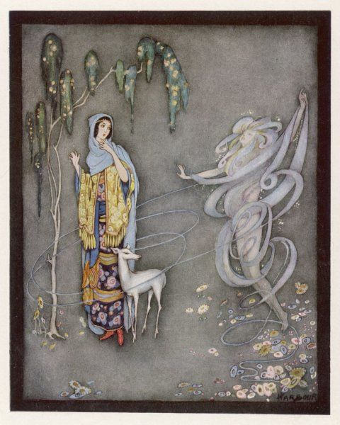 The lady and her white fawn are surprised by a strange apparition