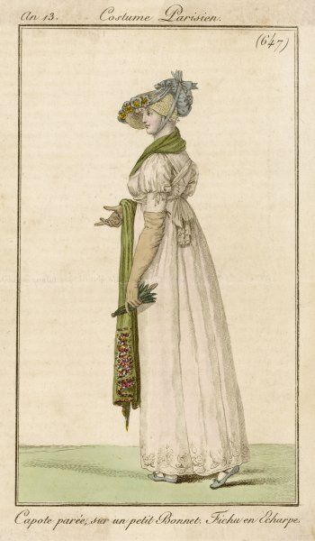 white gown with self- embroidered hem & white scarf worn like braces. Accessories: straw & blue cloth bonnet, folding parasol & green shawl with patterned border