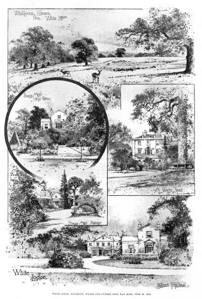 White Lodge, Richmond Park, where Edward VIII, later Duke of Windsor, was born in 1894. Views of Wimbledon Common, a shady seat and Princess May's balcony and sitting room are shown. Date: 1894
