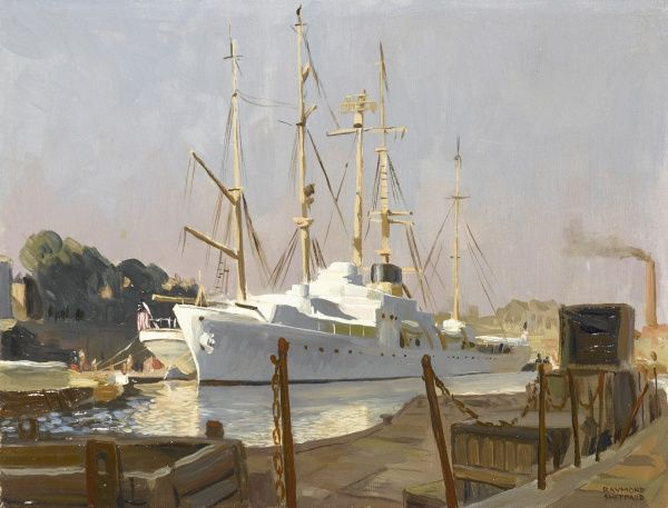 View across a dock toward a smart white navy steamship in port, moored alongside a tall ship. Oil painting by Raymond Sheppard