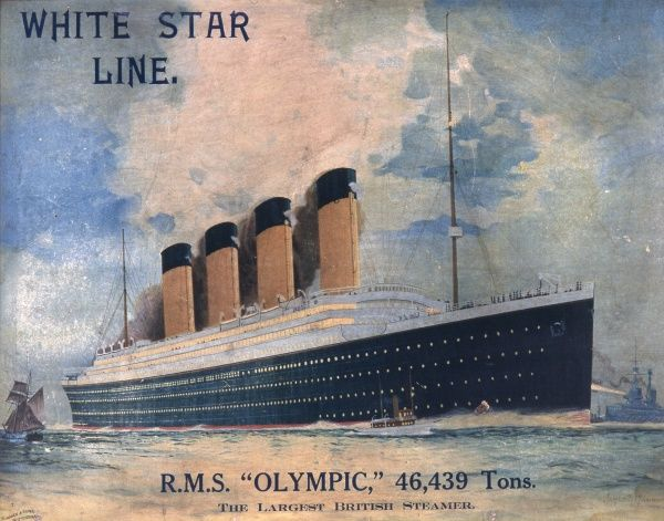 A framed image of the White Star Line luxury steamer, the RMS Olympic