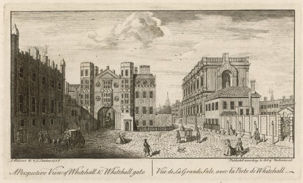 Whitehall Gate has only 13 years before being demolished in 1759, the street widened into the grand thoroughfare of the next century. The Banqueting Hall on the right
