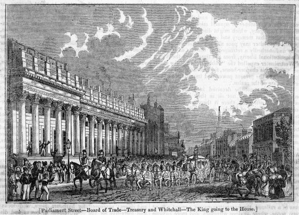 William IV travels to Parliament for the last time along Parliament Street, passing the Board of Trade and the Treasury