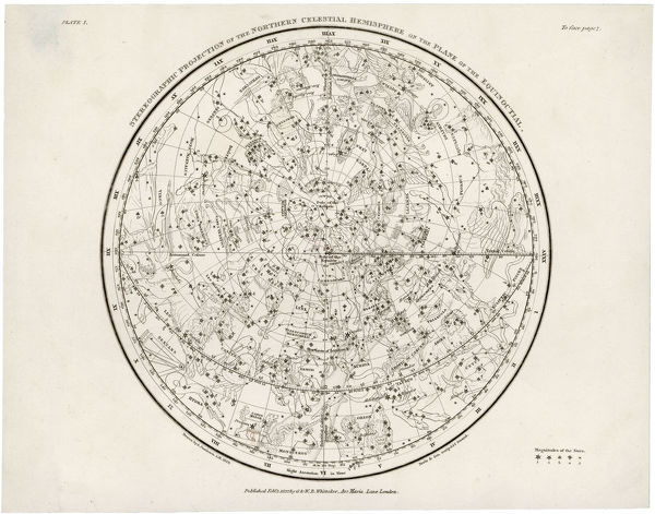 The Northern hemisphere, including the signs of the Zodiac