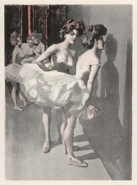 'Who's out front ?' - two dancers look through the peep- hole to see whether their admirers are in the audience