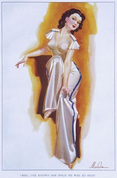 Brunette pin up girl by Merlin Enabnit (1903-1979) dressed in a satin pyjama suit. Enabnit was born in Des Moines, Iowa and was a successful commercial artist. He produced 24 pin up illustrations for The Sketch during the 1940s