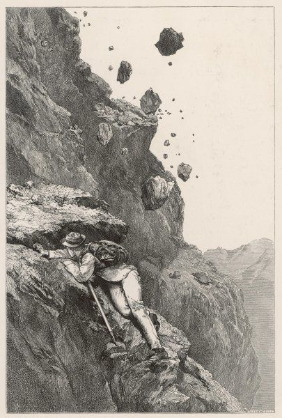 Whymper in danger from a rock- fall on the Matterhorn