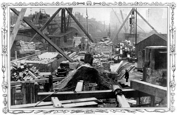 Photograph showing the engineering works associated with the widening of Blackfriars Bridge, London, 1908