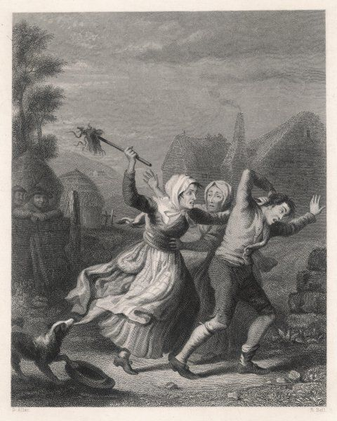 A wife beats her husband; a neighbour tries to restrain her