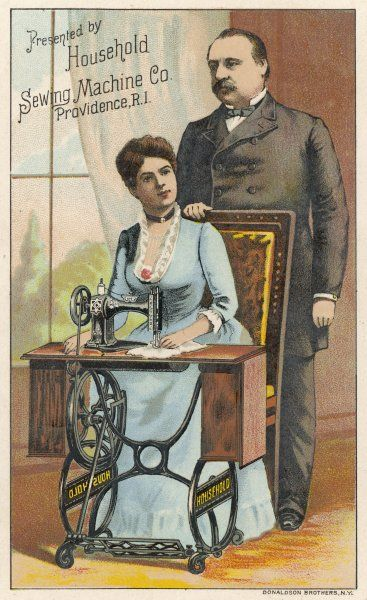 Her husband stands over her, proud that he has been able to provide his little lady with a 'Household' sewing machine to keep her usefully occupied