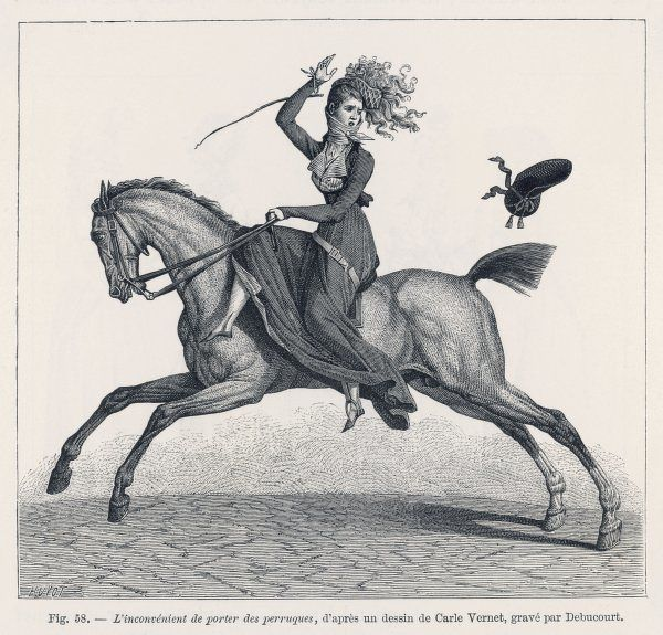 A lady riding sidesaddle discovers the drawbacks of wearing a wig when out riding