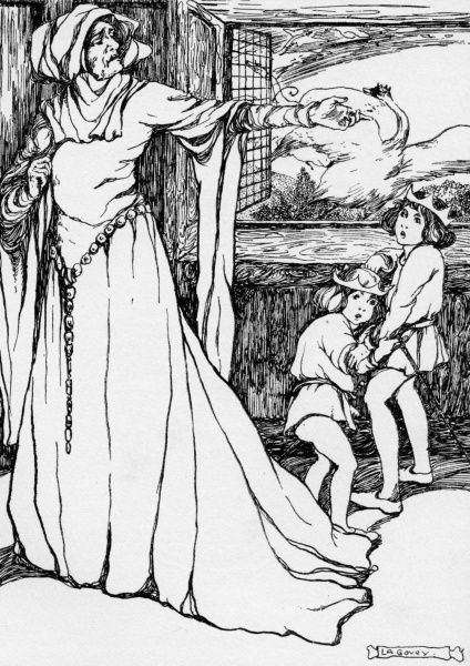 The Wild Swans by Lilian Govey. The wicked Queen mistreating the young Princes. A fairy tale by Hans Christian Andersen Date: 1912