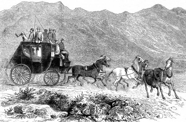 Stage Coach pulled by six horses, five passengers on top, travelling through a rocky landscape