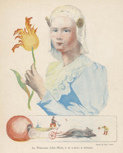 WILHELMINA, QUEEN OF HOLLAND Reigned 1890-1948: seen here as a typical Dutch girl, holding a tulip