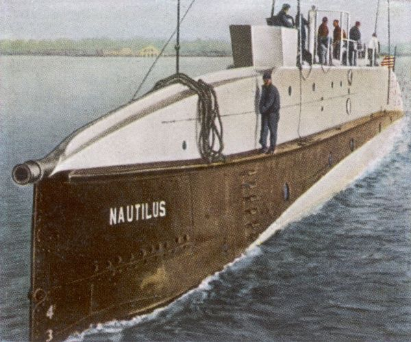 The 'Nautilus' of Commander Wilkins, which by sailing beneath the ice reaches the North Pole