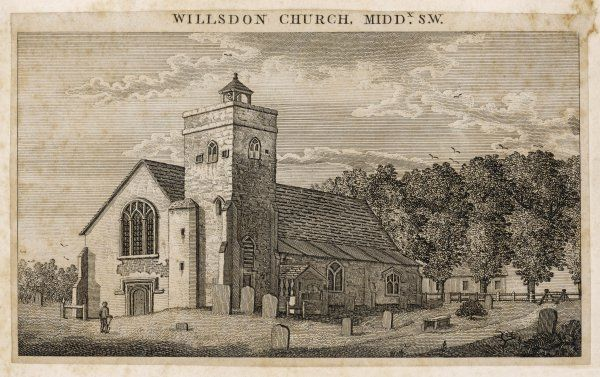 Willsdon Church, Middlesex. The church was first mentioned in 1181 but wasn't recorded as St. Mary's until around 1280. By 1500s was known for its shrine to the Virgin Mary