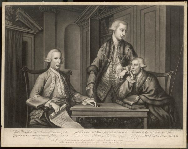 WILLIAM BECKFORD, Alderman of the City of London, twice Lord Mayor, with Townsend and Sawbridge, two of his sheriffs, on the occasion of their popular election 1769