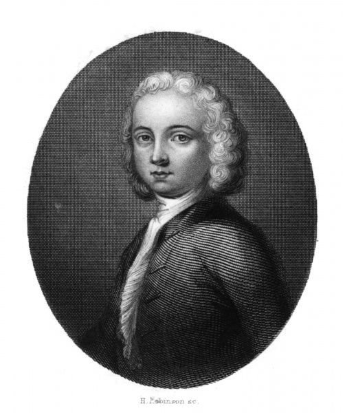WILLIAM COLLINS Writer whose poetical career commenced at age 12 (this engraving shows him at 14) ; friend of Johnson and other luminaries of the time. Date: 1721 - 1759