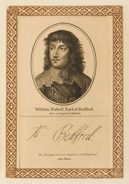 WILLIAM RUSSELL, earl of BEDFORD - soldier and statesman, at first sided with Parliament then switched to support Charles. with his autograph