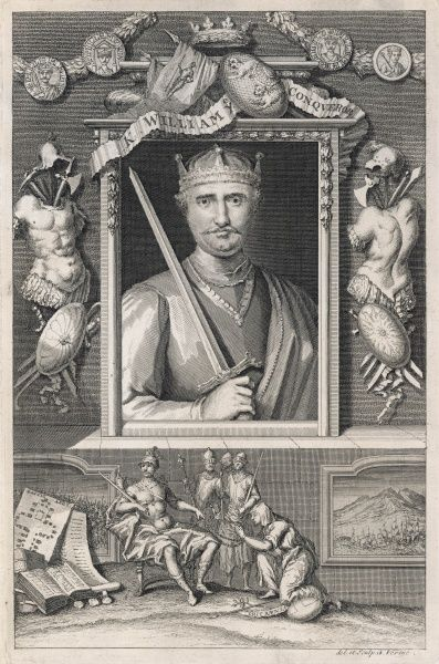 WILLIAM I THE CONQUEROR holding a sword : lower vignette shows him with the Domesday Book
