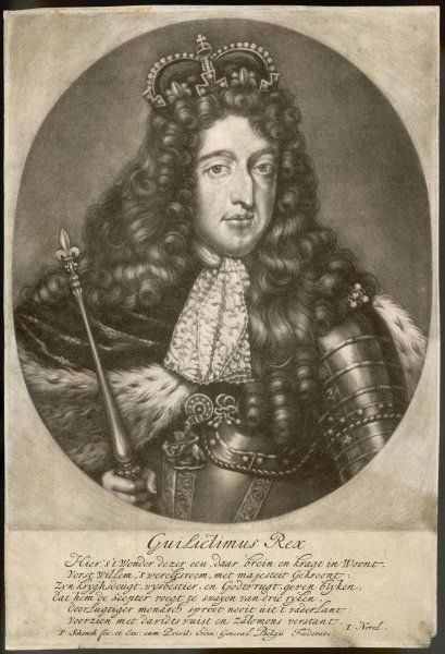 KING WILLIAM III A half-length portrait with ermine robes, crown and sceptre