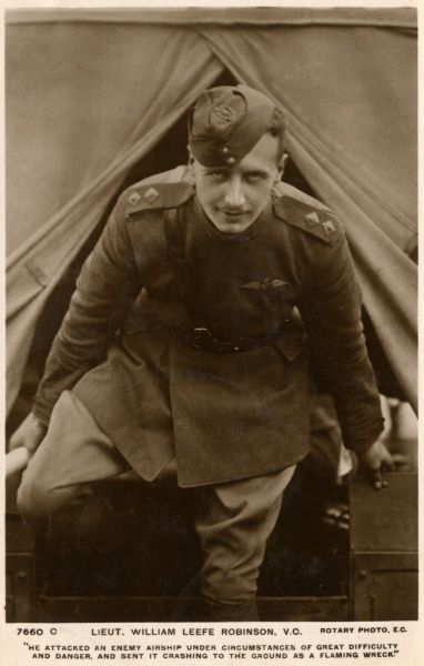 William Leefe Robinson is awarded the Victoria Cross for destroying a Zeppelin over Cuffley, Hertfordshire, under very courageous conditions. Date: 1916