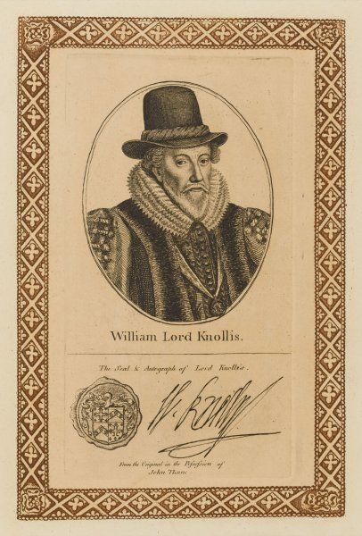 WILLIAM lord KNOLLYS (or Knollis, Knowles etc) statesman - with his autograph