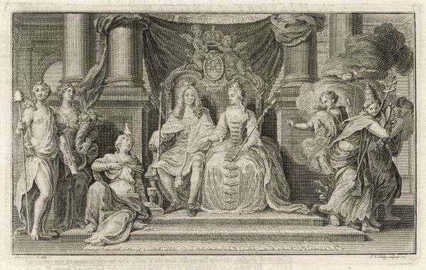 Allegorical representation of the accession of William & Mary - Magna Carta and Liberty are in favour, not so the Pope