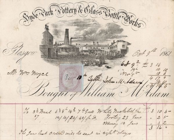 William McAdam, potter and bottle maker, of Glasgow