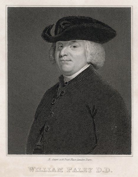 William Paley, British clergyman, Christian apologist, philosopher and utilitarian. He became Archdeacon of Carlisle in 1782. Best known as the author of 'Natural Theology', in which he compares God to a watchmaker