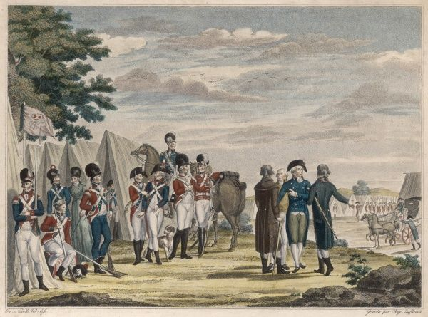 WILLIAM PITT THE YOUNGER Prime Minister of England, visits a camp of Volunteers, circa 1794