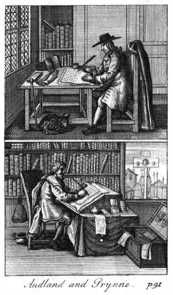 WILLIAM PRYNNE - puritan lawyer and pamphleteer whose writings led to the pillory and imprisonment in the Tower. Of Audland, in the upper picture, we know nothing Date: 1600 - 1669