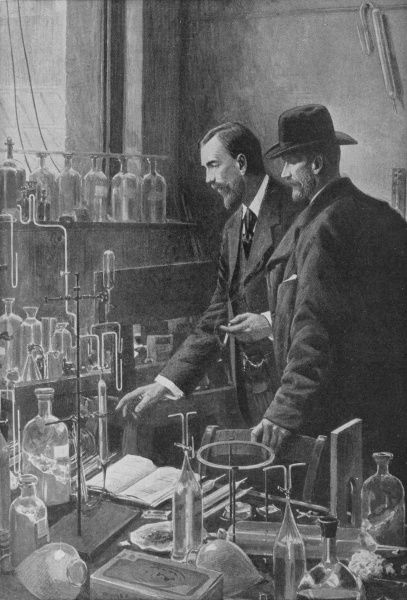 sir WILLIAM RAMSAY Chemist ; depicted conferring with Pierre Curie