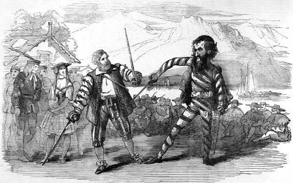 Engraving showing a battle between 'William Tell', on left played by Albert Smith, and 'Gessler', played by T. Knox Holmes, in the amateur pantomime at the Lyceum Theatre, London, 1856