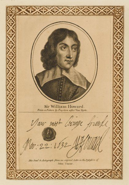 WILLIAM HOWARD, first viscount STAFFORD - brother of the earl of Arundel, accused - probably wrongly - of taking part in the Popish Plot and beheaded. with his autograph