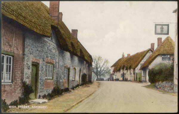Every building is thatched - even the Crown pub - in the High Street at Ashbury, Wiltshire